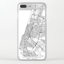 Tel Aviv Map White Clear iPhone Case
