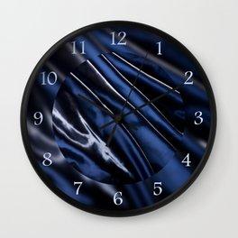 Dark blue glossy crumpled satin Wall Clock