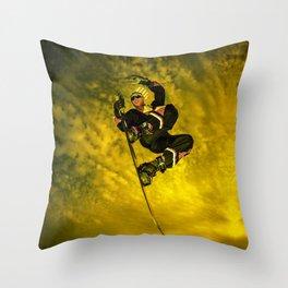 Snowboarding #1 getting air Throw Pillow