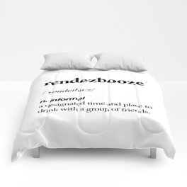 Rendezbooze black and white contemporary minimalism typography design home wall decor bedroom Comforters
