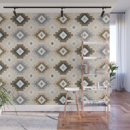 Ethnic Pattern - Neutral Brown and Grey Tones Wall Mural