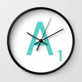 Blue Scrabble Letter A Wall Clock
