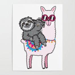 Sloth Music Llama Poster