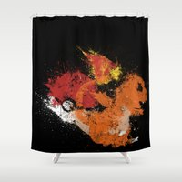 squirtle Shower Curtains featuring Fire Starter by Melissa Smith
