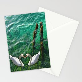 Two swans inOhrid lake Stationery Cards