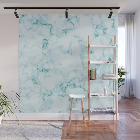 Aqua marine and white faux marble by artonwear