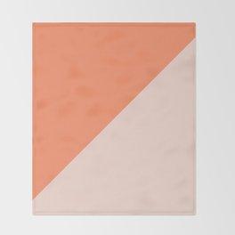 Bright Orange & Nude pink - oblique Throw Blanket
