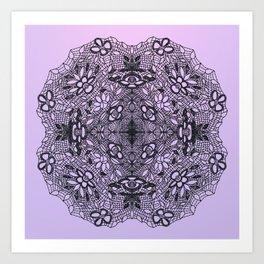 Black Lace Mandala Art Print