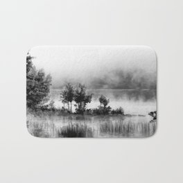 Watercolor Landscape on Water (Black and White) Bath Mat