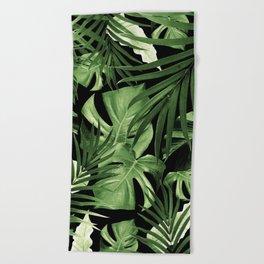 Tropical Jungle Night Leaves Pattern #5 #tropical #decor #art #society6 Beach Towel