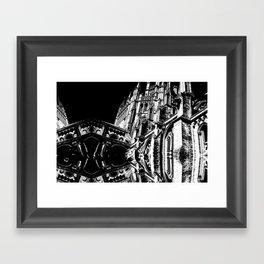 Cambridge Spires in Black & White Framed Art Print