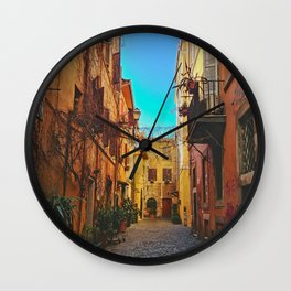 Down a Street in Roma Wall Clock