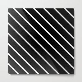 Diagonal Lines (White & Black Pattern) Metal Print