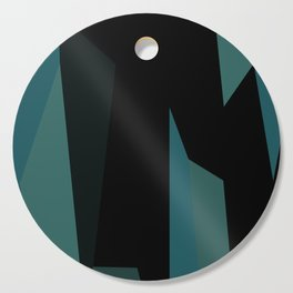 teal and black abstract Cutting Board