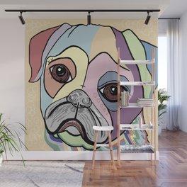 PUG in DENIM Tones Wall Mural