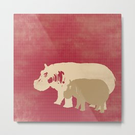 Hippos Artwork Metal Print
