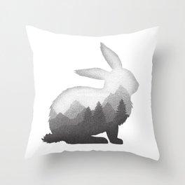 Bunny Rabbit Hare Double Exposure Surreal Wildlife Animal Throw Pillow