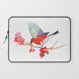 Bullfinch bird with ashberry Laptop Sleeve