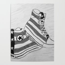 black and white rock and roll Poster