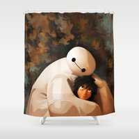 baymax Shower Curtains featuring Baymax Love by Kesen