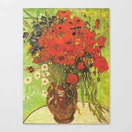 Still Life: Red Poppies and Daisies by Vincent van Gogh Canvas Print