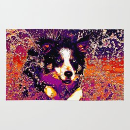 border collie jumping in water vector art late sunset Rug