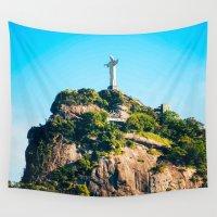 christ Wall Tapestries featuring Christ Redeemer by Edgard Mello