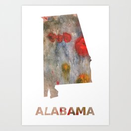 Alabama map outline Rosy brown clouded wash drawing painting Art Print