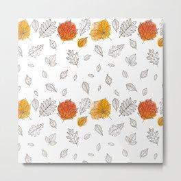 Fall orange gold hand drawn black white leaves Metal Print