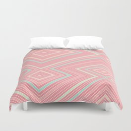 Pink, Green, Yellow, and Peach Lines - Illusion Duvet Cover