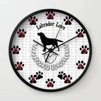 labrador Wall Clocks featuring Labrador Love by naturessol