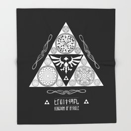 Legend of Zelda Kingdom of Hyrule Crest Letterpress Vector Art Throw Blanket