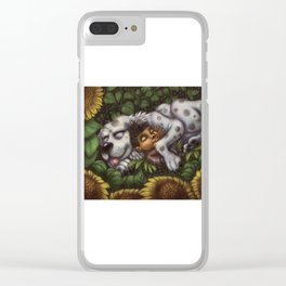 Boy and Dog in Sunflower Field Clear iPhone Case