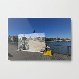 Painter On The Boardwalk (Seine, France) Metal Print