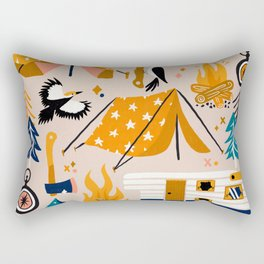 Camping Kit – Orange & Blue Rectangular Pillow