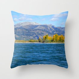 River and Mountains Throw Pillow