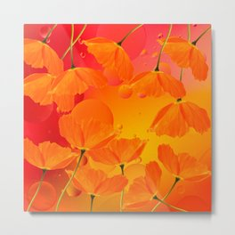 Poppy Flowers in Sunset Colors #decor #society6 #buyart Metal Print