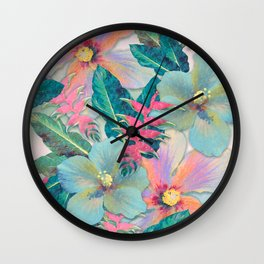Aqua Ginger Alohas Wall Clock