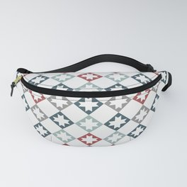 Modern Farmhouse Quilt Pattern Vintage Inspired NorthStar and Diamond Harlequin Print Fanny Pack