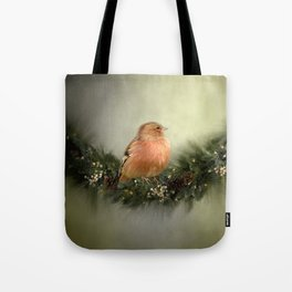 Little Bird in Christmas Wreath Tote Bag