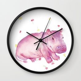Pink Fiona Hippo Flower Painting Wall Clock