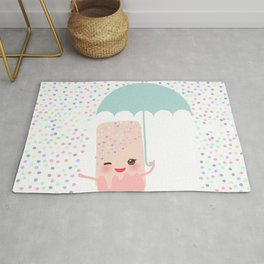 pink ice cream, ice lolly holding an umbrella. Kawaii with pink cheeks and winking eyes Rug