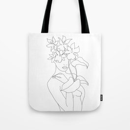 Minimal Line Art Woman with Flowers V Tote Bag