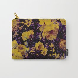 bright floral in yellow and purple Carry-All Pouch