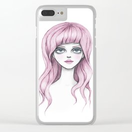 Flamingo girl - Pink hair girl Clear iPhone Case
