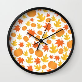 Colorful leaves and pumpkins Wall Clock