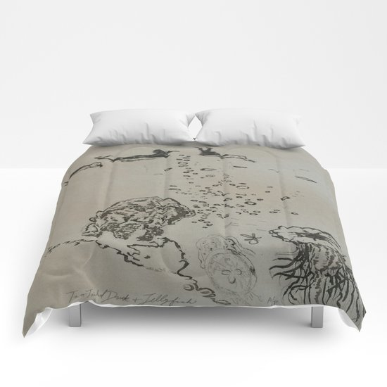 Under The Sea Green Black and White  Comforters