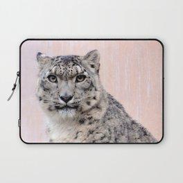 Snow Leopard in Pink Laptop Sleeve