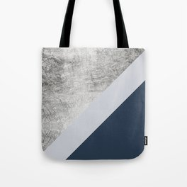 Modern minimalist navy blue grey and silver foil geometric color block Tote Bag