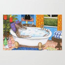 Cat in bath Rug